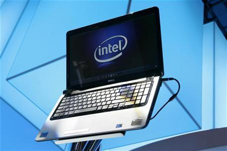 A laptop displays the Intel logo at the CES in Las Vegas