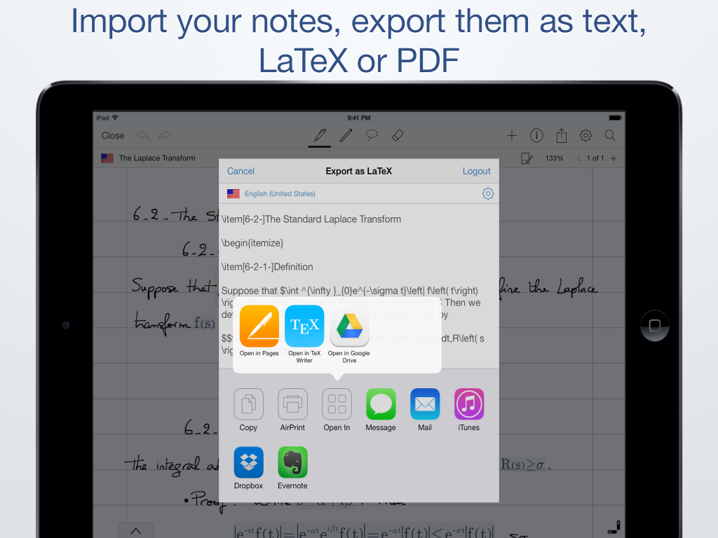 en_Import your notes, export them as text, LaTeX or PDF